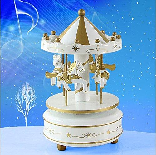 Lanlan Holz 4Pferd Drehkarussell Figur Musik Box Kinder Geburtstag Weihnachten Geschenke Spielzeug 1#, - Aus Halloween-songs Die Filmen Besten