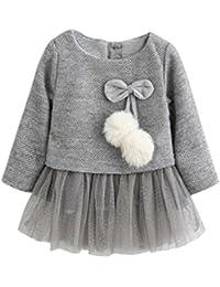Tonsee Bébé enfants Filles Manches longues tricoté arc tutu princesse robe 0-24 mois