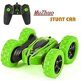 MuZhuo Rc Stunt Car, Voiture de contrôle à Distance pour Enfants Jouet 1:24 2.4ghz Double Face à 360 degrés de Rotation et de retournement LED lumières Rc télécommande Voiture de Stunt Jouet (Vert)