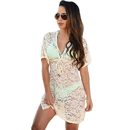 meinice trasparente Lace Cover Up Dress Beige Small