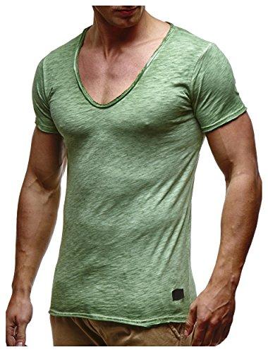 LEIF NELSON Herren T-Shirt V-Neck V-Ausschnitt Kurzarm-shirt Top Basic Shirt Crew Neck Vintage Sweatshirt Sweater LN6280-1 S-XXL; Größe M, Verw. Gruen