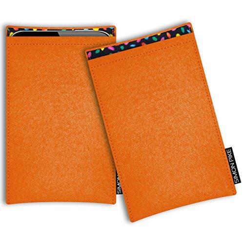 SIMON PIKE Microsoft Lumia 950 Filztasche Case Hülle Boston in orange 13, passgenau maßgefertigte Filz Schutzhülle aus echtem Natur Wollfilz, dünne Tasche im schlanken Slim Fit Design für das Lumia 950