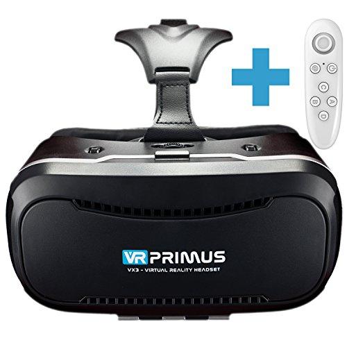 VR Brille VR-Primus VX3 + Fernbedienung für Android Handy \'s | VR Headset für Smartphone \'s z.B. iPhone,iOS,HTC,Sony,LG,Huawei,Samsung,7,8,9 | Controller,3D,Google Cardboard App | Neu:mit Steuerknopf