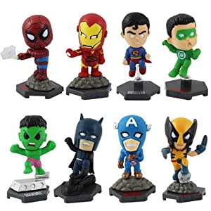 8x Marvel Hero Batman/Spiderman/Superman/Iron Man/Hulk/C A 4cm-4.8cm PVC Figure