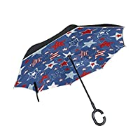 BENNIGIRY Stars And Stripes Seamless Pattern Print Windproof Reverse Folding Double Layer Inverted Umbrella with C-shaped Hands Free Handle for Travelling and Car Use