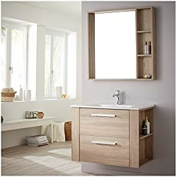 Ensemble meuble de salle de bain + miroir couleur chêne