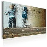 murando - Bilder 120x80 cm - Leinwandbild - 1 Teilig - Kunstdruck - Modern - Wandbilder XXL - Wanddekoration - Design - Wand Bild - Poster Kinder Mural Banksy i-B-0024-b-d