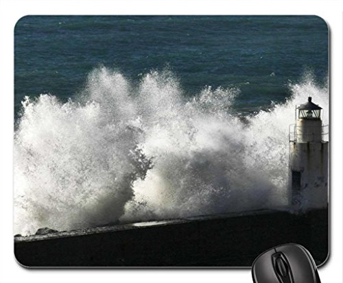 stormy sea wave smashing into lighthouse Mouse Pad, Mousepad (Lighthouses Mouse Pad) (Smashing Design)