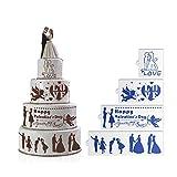 Ensemble de stencil de gâteau de mariage - Pochoir de décoration de gâteau à 4 niveaux, nouveau casse-croûte de mariage en croquis de mariage ST-821