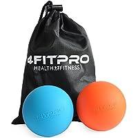 Lacrosse Balls - profondo del tessuto per massaggi, un insieme di 1 arancia e 1 Blu-Safe & efficace per alleviare & relax miofasciale, Piede, petto e muscoli della schiena - 4FitPro comprende Carry Bag