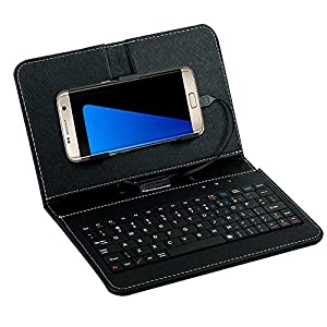 "Tonsee General Wired Keyboard Flip Holster Case For Andriod Mobile Phone 4.2""-6.8"",Schwarz"