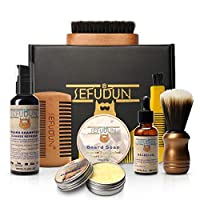 azurely Beard Care Set, Beard Growth Styling Kit With Beard Comb Template Comb Beard Oil Beard Shampoo Beard Cream For Men Beginners And Professionals