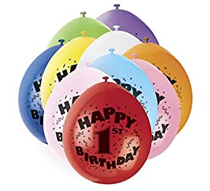 """Unique Party 80300 - 9"""" Latex Assorted Happy 1st Birthday Balloons, Pack of 10"""