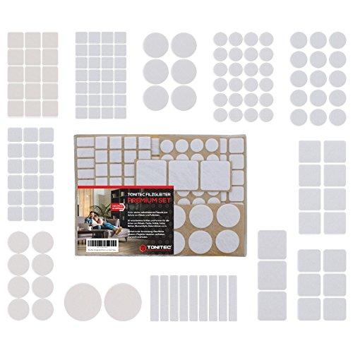 ToniTec Filzgleiter Selbstklebend für Stühle, Premium Set mit 12 Verschiedenen Größen, Rund und Rechteckig, Filz für Möbel Filzunterlage Weiß