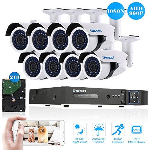 OWSOO-16CH-1080N-DVR-H264-Grabador-2TB-Disco-Duro-8x-960P-AHD-Cmara-Bala-IR-CCTV-8x-60ft-Cable-de-Vigilancia-Soporta-APP-Control-Deteccin-de-Movimiento-Visin-Nocturna