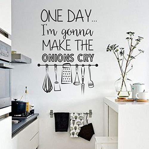 kleber Wasserdicht Aufkleber Nette Koch Vinyl Wandtattoo Home Küche Raum Dekor Machen Die Zwiebeln Cry Zitate Wandbild ()