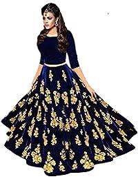 118444478b Saptarangi Women S Velvet Long Gown Skirt And Top (Bluebarry Free Size)