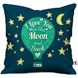 Indigifts Valentine I Love U Cushion Cover 12X12 With Filler,Dark Blue