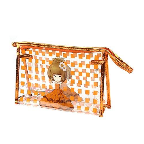 Portable Femme Coque de sac Maquillage étanche en PVC orange Orange