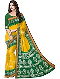 AngelFab Women's Yellow And Green Printed Batik Saree With Unstiched Blouse