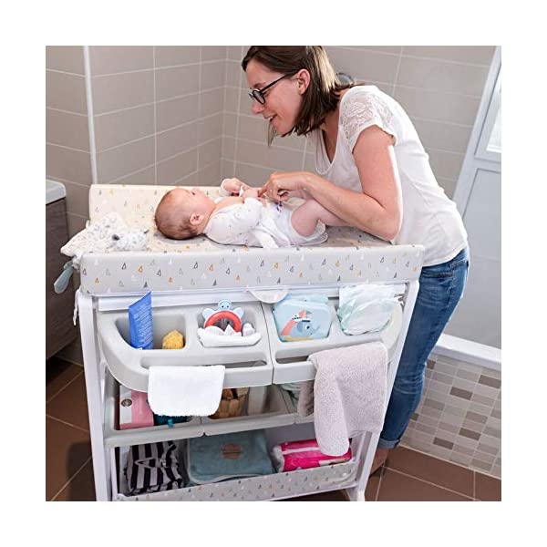 Safety 1st Dolphy Baby Changing Unit, Warm Grey Safety 1st 2 in 1: bathtub and changing table. no need to bend to bath baby Easy to lift up with one hand changing table Integrated bathtub with drainage tube included 6