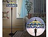 Lampadaire Lampadaire De Style Européen Tiffany, Chambre À Coucher, Salon, Lampadaire En Verre Bleu En Fer Forgé D'époque, Lampadaire À Led De Style Méditerranéen