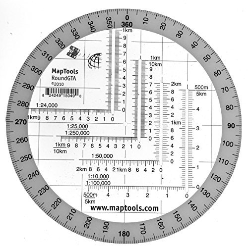 Round Military Coordinate Scale and Protractor by MapTools