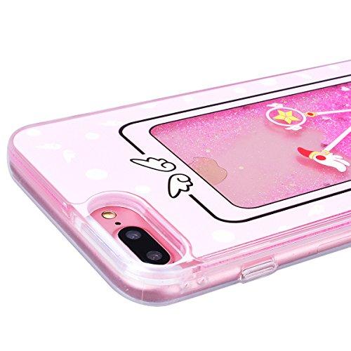 """WE LOVE CASE iPhone 7 Plus / iPhone 8 Plus Hülle Zauberstab Glitzern Treibsand Transparent Flüssig Kristall klar Quicksand Diamant Liquid Liebe Sterne iPhone 7 Plus / iPhone 8 Plus 5,5"""" Hülle Rosa Sch Magic"""