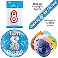 8th Birthday Party Set Age 8 Boys (Banner Balloons, Candle, Badge)