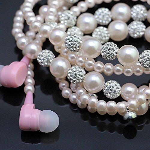 URIZONS Pearl Earphnoe collar con anillos de cristal y funci¨®n de micr¨®fono Caracter¨ªsticas Iphone y Adroid Dispositivos Color Rosa