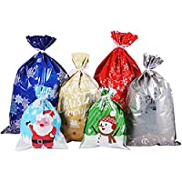 Cabilock 30PCS Christmas Gift Bags Kit Assorted Christmas Prints Gift Wrapping Goodie Bags Party Favor Pouches for Xmas Party Wedding