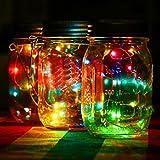 Minshao LED Fairy Light Solar für Einmachglas Deckel einfügen Farbwechsel Garten Dekor (Mehrfarbig)