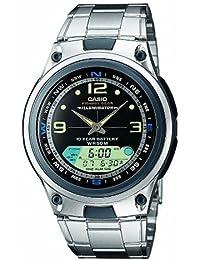 Casio AW-82D-1AVEF - Reloj analógico y digital de cuarzo para hombre con correa de acero inoxidable, color plateado