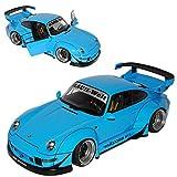 AUTOart Porsche 911 993 Carrera Coupe RWB Coupe Blau Rauh-Welt 1993-1998 78152 1/18 Modell Auto mit individiuellem Wunschkennzeichen