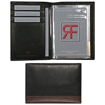"""Ausweisetui, """"LA LINEA"""", 053220 002, Leder, schwarz mit braunen Streifen"""