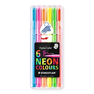STAEDTLER SB6CS1 – Estuche 6 Rotuladores Triplus Color 323 Box colores neón, Multicolor