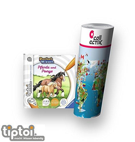 tiptoi Ravensburger Buch 4-7 Jahre | Pocket Wissen - Pferde und Ponys + Kinder Weltkarten Poster | Pocketwissen Tip TOI