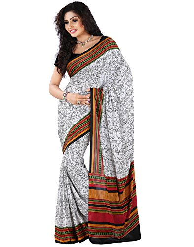 Roopkala Silks & Sarees Crepe Saree (Dv-813_White)