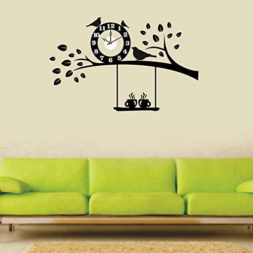 Syga Black Tree and Bird PVC Vinyl Wall Clock (35 cm x...