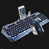 Kaiyu Tastiera da gioco cablata 455 * 175 mm (tastiera + mouse + cuffia (arancione, argento)) (Color : Silver)