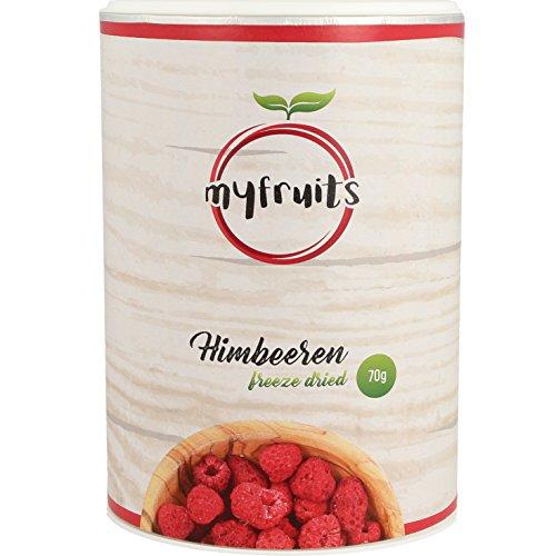 myfruits gefriergetrocknete Himbeeren 70g - ganze Früchte, ohne Zusätze, Abgefüllt in Deutschland