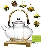 BIO TEEBLUMEN WEIHNACHTS - GESCHENKSET: 1200ML TEEKANNE + 6x BIO-TEEROSEN/BIO weißer Tee Teeblüten mit natürlichen Blüten/Weihnachtsgeschenk / Geschenk zu Weihnachten by Feelino