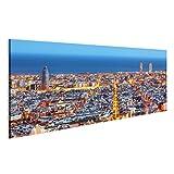 islandburner Bild Bilder auf Leinwand Skyline von Barcelona, Luftaufnahme bei Nacht, Spanien Wandbild Leinwandbild Poster