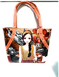 Printed Orange Color Hand Bag From The House Of Dalliance