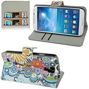 Colorful Daisy Flower Pattern Horizontal Flip Leather Case with Credit Card Slot & Holder for Samsung Galaxy S4 / i9500