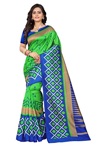 Jaanvi Fashion Art Silk Ikat Patola Kalamkari Printed Saree (Patola-Print-Blue-Green)