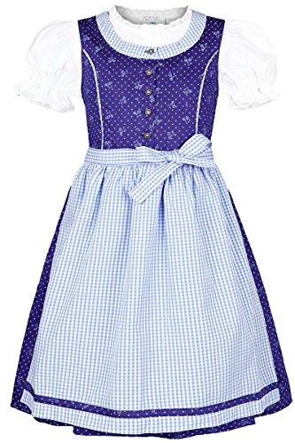 Isar-Trachten Mädchen Kinderdirndl mit Bluse blau hellblau, BLAU (Marine), 122