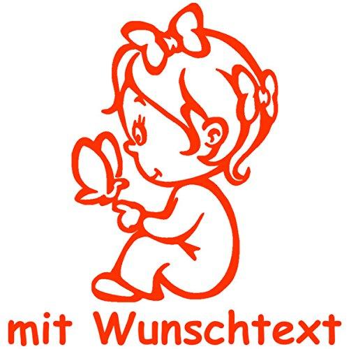 Babyaufkleber mit Name/Wunschtext - Motiv 41 (16 cm) - 20 Farben und 11 Schriftarten wählbar