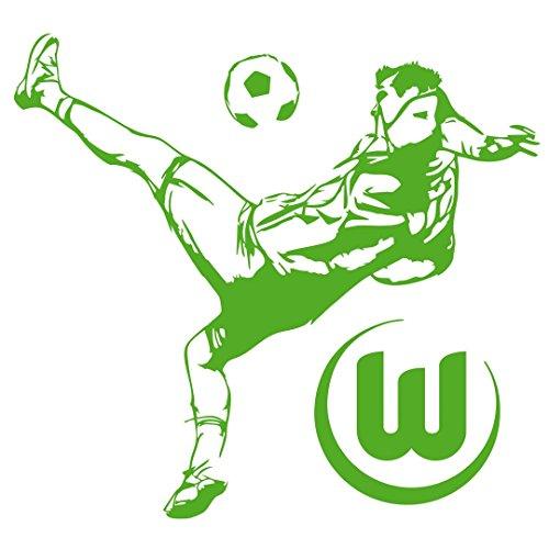 "VfL Wolfsburg Wandtattoo / Wandaufkleber ""Fussballspieler"" Motivgröße ca. 45 x 50 cm gesamt ( 2 Tattoos) Fan Edition"