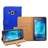 Membrane - Blu Portafoglio Custodia per Samsung Galaxy Xcover 3 (SM-G388F) - Wallet Flip Case Cover